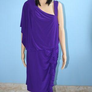 R&M Richards Grape Purple Off Shoulder Dress